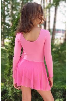 Купальник с юбкой для танцев и гимнастики розовый