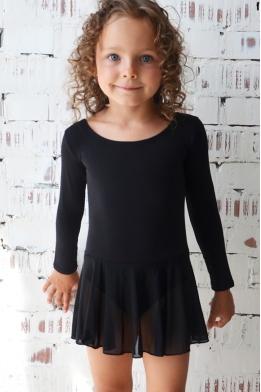 Купальник с юбочкой для танцев и гимнастики черный
