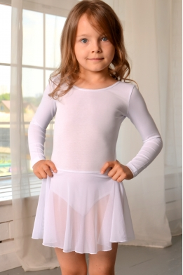 Leotard with skirt for dance and gymnastics white