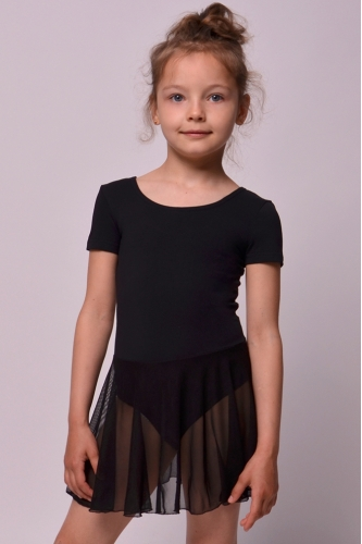 Leotard with skirt for dance and gymnastics black