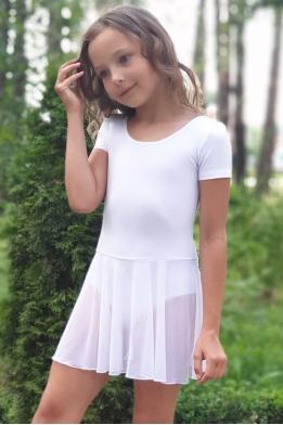 Купальник с юбочкой для танцев и гимнастики белый
