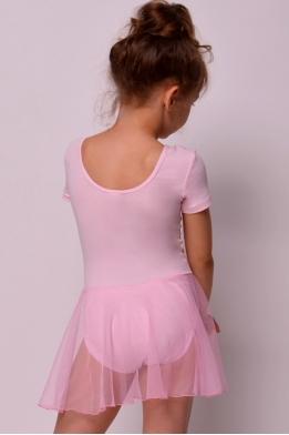 Купальник с юбкой для танцев и гимнастики нежно-розовый