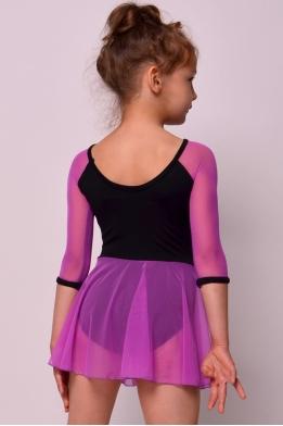 Купальник с юбкой и рукавами из сетки фиолетовый