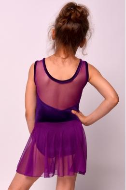 Купальник с юбкой из сетки фиолетовый